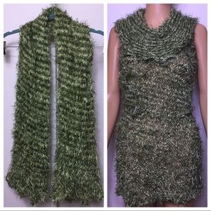 Fluffy Knit Scarf Convertible To Sleeveless Dress
